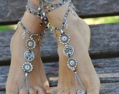EARTH MANDALA barefoot SANDALS foot jewelry by PanoParaTanto