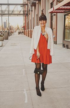 Holiday Red Dress / Holiday Dress Style / Mini Red Dress / Holiday Look Inspiration Red Holiday Dress, Holiday Style, Holiday Fashion, Holiday Outfits, Holiday Dresses, Polka Dot Tights, Everyday Dresses, Blogger Style, Fashion Bloggers