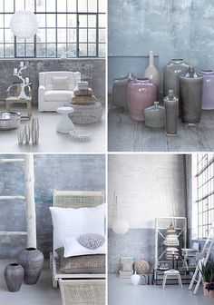 glass vases & shades of grey