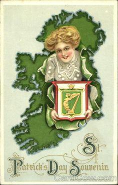 St. Patrick's Day Souvenir Saint Patrick, Holiday Postcards, Vintage Postcards, Leprechaun Pictures, St. Patricks Day, Spring Images, Postcard Art, St Paddys Day, Luck Of The Irish