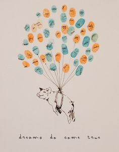 Piggy Pig with Thumbprint Balloon strings, Original Guest Book Fingerprint Balloon Art (drawing with no ink pads)
