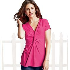 "A short-sleeve ruched front top with a plunging V-neck that flatters your bustline.• 95% Polyester / 5% Spandex• Machine wash, cold, with like colors; only non-chlorine bleach. Tumble dry, low; cool iron as needed.• Length from center back: 25"" (medium); 27 ½"" (2X)• Imported While Supplies Last!"