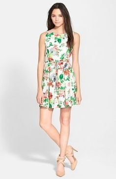 One Clothing Floral Print Skater Dress (Juniors)