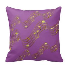 Gold Swirl Music Notes Purple 2 Throw Pillow by #MoonDreamsMusic #ThrowPillow #MusicNotes #PurplePillow #GoldSwirl