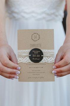 kraft paper rustic  wedding invite