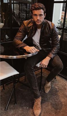 Browns! Leather jacket and Chelsea boots! Love this! #leather #menstyle #menswear #mensfashion