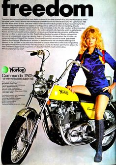 Is that really the right riding attire for a motorcycle? A Norton Commando 750 motorcycle? Moto Norton, Norton Bike, Norton Motorcycle, Motorcycle Posters, Girl Motorcycle, Motorcycle Types, Classic Triumph Motorcycles, British Motorcycles, Vintage Motorcycles