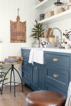 Virtually Tour Our Holiday Store Front Green Kitchen Cabinets, Blue Cabinets, Kitchen Cabinet Colors, Kitchen Colors, Painted Oak Cabinets, Blue Kitchen Ideas, Annie Sloan Kitchen Cabinets, Blue Kitchen Island, Colored Cabinets
