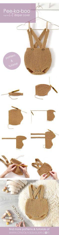 Crochet Clothes, Crochet Toys, Crochet Baby, Knit Crochet, Diaper Cover Pattern, Crochet Jacket, Learn To Crochet, Crochet Stitches, Crochet Projects