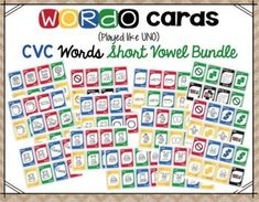 CVC Short Vowel Card Game Bundle Guided Reading Activities, Sight Word Activities, Back To School Activities, Uno Card Game, Card Games, Motivational Activities, Teaching Sight Words, Math Challenge, Math Assessment