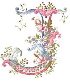 pink blue flower letter J Embroidery Alphabet, Alphabet Art, Alphabet And Numbers, Ribbon Embroidery, Embroidery Stitches, Fancy Letters, Monogram Letters, Graphic 45, Decoupage