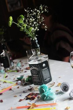 East Dene Weddings #JackDaniels bottles for flowers  www.eastdeneiow.co.uk