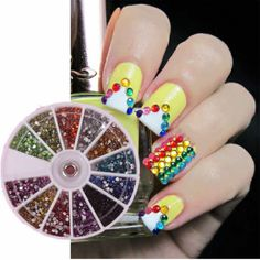 Cute Nail Designs – 12 Colors 2mm Round Rhinestones Nail Art Decorations $5.76 + FREE Shipping + FREE Nails Magazine with every order. #nails #nailart #naildesign #manicure