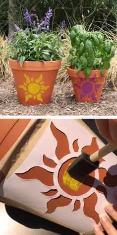 Channel Rapunzel's creativity, as you paint the golden sun on a flower pot, just as she did on the floor of her tower.