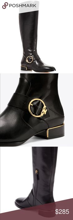 """NWB Tory Burch Sofia Riding Boot Details Tory Burch brings understated glimmer to a classic leather riding boot, detailed simply with a rose-gold rand framing the heel and a perfectly round logo buckle anchoring a low-slung decorative strap.  - Round toe - Partial side zip closure - Approx. 17"""" shaft height, 15.5"""" opening circumference - Approx. 1"""" heel Materials Leather upper/leather and textile lining/leather sole  Please be advised/aware of Tory sizing! Best for a size 7 as I find her…"""
