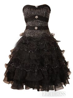 Pretty A-Line Strapless Beading Tiered Cocktail/Prom Dress Junior Prom Dresses- ericdress.com 10946247