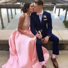 Chic 2 Pieces Prom Dresses Pink Royal Blue Fuchsia Long Party Gowns With Pockets High Neck Lace Top Satin Bottom Backless Evening Dress - Chic 2 Pieces Prom Dresses 2017 Pink Royal Source by - Prom Pictures Couples, Prom Couples, Homecoming Pictures, Teen Couples, Maternity Pictures, Couple Pictures, Prom Picture Poses, Prom Poses, Prom Outfits