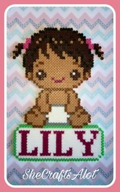 Perler Bead Baby Girl Name Plate