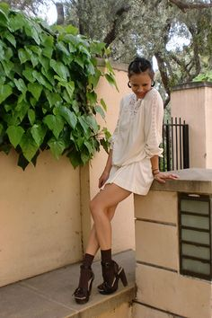 love the white dress with brown socks and sandals