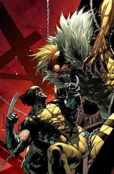 Wolverine vs Sabertooth - Leinil Francis Yu