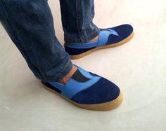 blue shoes corduroy canvas Slip on handmade Rangkayo sneakers US 10 men unisex