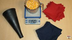 Cornhole bags and digital scale
