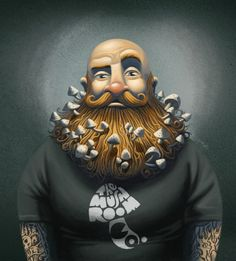 """Check out David de Ramón's """"Mushroom Man"""" and """"Nympths in the Forest."""" VIEW:http://illusion.scene360.com/illustration/66555/illustrating-the-mushroom-man/ #illustration #davidramon #davidderamon #mushroom #tattooed #beard"""