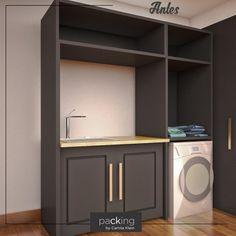 A decoração de uma lavanderia é na maioria das vezes esquecida. Porém, é um cômodo que merece atenção, e por isto, nossa cliente procurou o @packingbycamilaklein. Quer ver como ficou a produção? Aguarde alguns minutinhos que eu te mostro! #packingbycamilaklein #lavanderia #decor