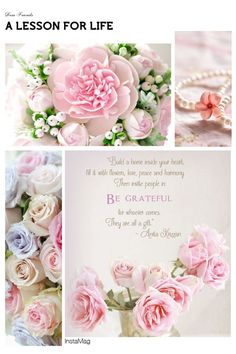 """Pink, """"A lesson for life"""" mood/color collage Beautiful Collage, Beautiful Flowers, White Flowers, Peace And Harmony, Peace And Love, Collages, Decoupage, Photo Mosaic, Pastel"""