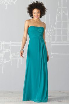 REALLY LIKE - blue+bridesmaid+dresses | Strapless Chiffon Bright Blue Bridesmaid Dress Online - good for preggo, could have straps for younger BMs