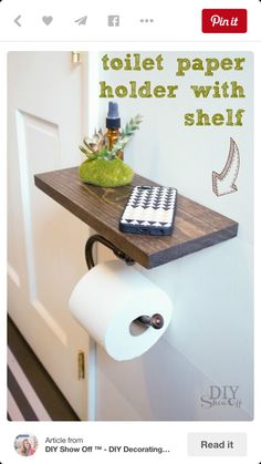 Diy toilet paper holder/shelf