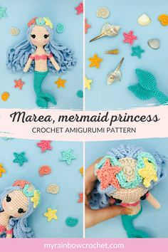 Marea is a mermaid princess from a Mediterranean kingdom where peace and love reign. Its pattern is very easy to achieve. Detailed every step of the way, illustrated by numerous photos. It contains 30 pages and 71 photos. Adopt her! Crochet Mermaid, Rainbow Crochet, Easy Crochet, Crochet Baby, Crochet Animal Amigurumi, Amigurumi Patterns, Crochet Doll Pattern, Crochet Dolls, Real Simple