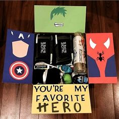 19 trendy gifts for boyfriend box care packages – presents for boyfriend Bf Gifts, Cute Gifts, Gifts For Dad, Gifts For Friends, Marvel Gifts, Superhero Gifts, Birthday Diy, Birthday Gifts, Boyfriend Care Package