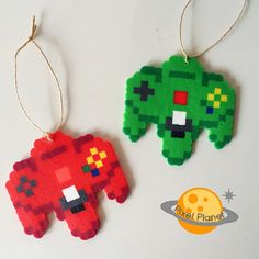 Perler Beads Sprite  Christmas Ornaments  N64 controllers