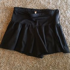 Free People Shorts Black poly/rayon/spandex flowy shorts. Material appears shiny in some angles almost like leather. Difficult to capture in photos(seen best in last one). These are adorable with fat zipper on the side and a thick waistband (5 inches). Shorts from bottom of waistband are 8 1/2 inches. Used gently and in great condition. Free People Shorts