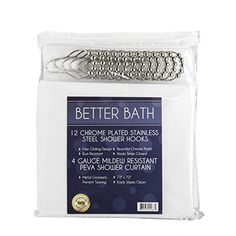 """Shower Curtain Hooks and Shower Liner - 72"""" x 72"""" 4 Gauge PEVA Shower Curtain Liner with Metal Grommets, Mildew-Free - 12 Rust-Resistant, Stainless Steel Gliding Shower Curtain Rings * Want to know more, click on the image."""