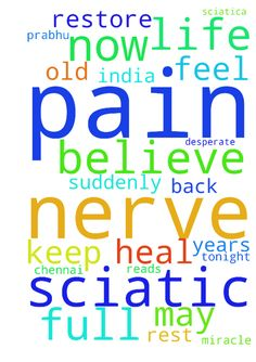 Prayer to heal sciatic nerve pain - Prayer to heal sciatic nerve pain Brighten Charveen prabhu India Tamil Nadu Chennai I am 27 years old full of sin as before I use to drink and smoke but now I have totally quit all those things and started accepting one and only god is Jesus Christ and believe in praying but suddenly I got lower back pain and sciatica nerve pain which is very horrible, also I am in terrible pain and have felt agony like no other time in my life. My sciatic nerve still…
