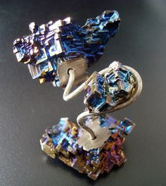 Bismuth sculpture tree - Metal sculpture - Modern sculpture - Modern Sculpture - Bismuth Crystal by GoldenValantine on Etsy