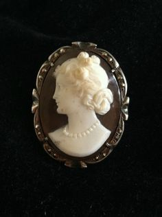 Antique 800 Sterling and Marcasite Cameo Pin/Pendant