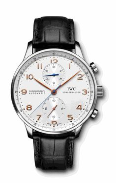 Ref.: IW371401   Portuguese Chrono Automatic, Steel  Silver Alligator Black, Tang Buckle, Steel