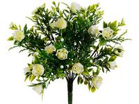 Plastic Mini Rose Bud Bush in White and Green.jpg