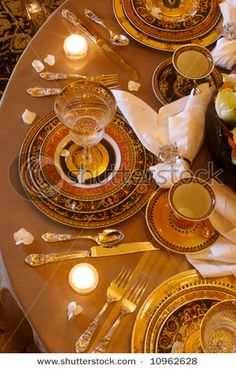 """This is a nice """"non-white"""" formal table setting. White is bad for camera/lighting"""
