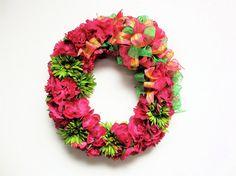 Spring/Summer Silk Floral Wreath Hot Pink by SandyNewhartDesigns Large 22x20