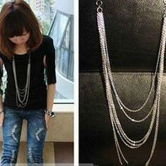 Hot Fashion Jewelry Vintage Retro Style Silver Color 7 Layer Long Tassel Pendant Necklace Sweater Chain Free Shipping #Affiliate