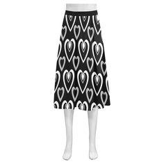 Black and White Heartbeat Mnemosyne Women's Crepe Skirt(Model D16)