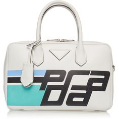 City Calf Duffle Bag with Logo | Moda Operandi (€2.112) ❤ liked on Polyvore featuring bags, handbags, logo handbags, white handbag, white bag, duffle bags and logo bags