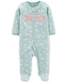 Carter's Baby Girl Little Sister Zip-Up Fleece Sleep & Play Baby Outfits, Kids Outfits, Baby Girl Pajamas, Carters Baby Girl, My Little Girl, Little Sisters, One Piece Outfit, Baby Shop, New Baby Products