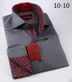 Axxess Charcoal Grey / Micro Polka Dot Handpick Stitching 100% Cotton Modern Fit Dress Shirt 10-10