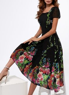 FLORYDAY.   Rates for crap. Do NOT order from!!!     Floral Short Sleeve Midi A-line Dress