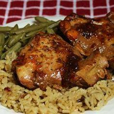 makes 4 servings 4 skinless, boneless chicken thighs 1/2 cup soy sauce 1/2 cup ketchup 1/3 cup honey 3 cloves garlic, mi...